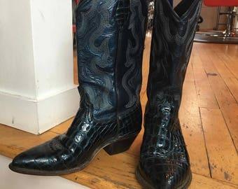 Vintage Western Dark Blue Leather Cowboy Boots, Size 6