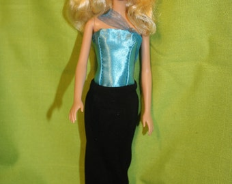 Strapless Barbie long dress  for Barbie  doll