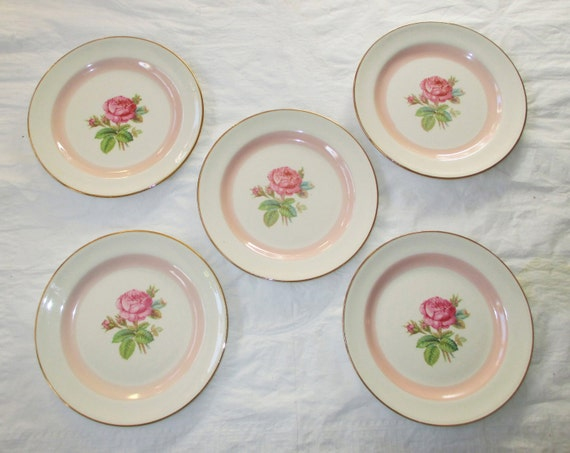 """Set of 5 Homer Laughlin Eggshell Nautilus 6-1/8"""" Bread and Butter Plates, Pink Rose and Band (c. 1940s)"""