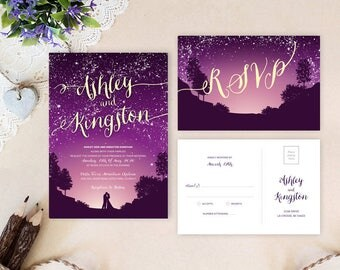 printed wedding invitations with rsvp postcards purple and gold wedding invitations printed under the - Purple And Gold Wedding Invitations