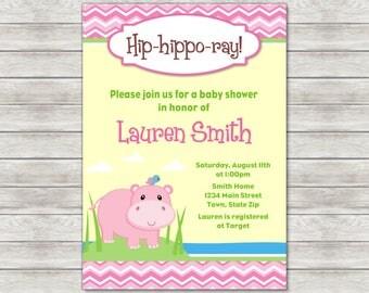 Hippo Baby Shower Invitation Girl - Printable File or Printed Invitations