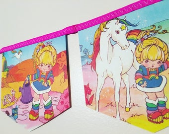 RAINBOW BRITE vintage rare 1980s bunting garland baby shower nursery decor paper party banner