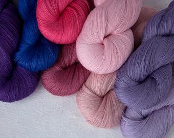 Set of 8 linen skeins - putrple pink linen thread