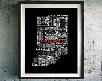 Indiana Art Print, Indiana Unique Gift, Indiana Typography Map, Indiana Original Gift, Custom Indiana Map, Indiana Poster, Indiana Decor