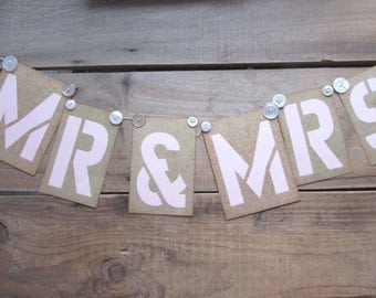 Wedding Mr & Mrs Sign Garland Rustic Brown and Pink Stencil Pattern Vintage Twine and Buttons Detail