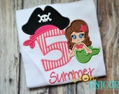 Pink Pirate Mermaid Birthday Shirt - Number can be changed - Name added for FREE