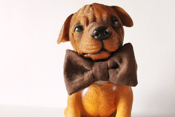 Dog bow tie >> Chocolate brown bow with elastic >> Pet gift