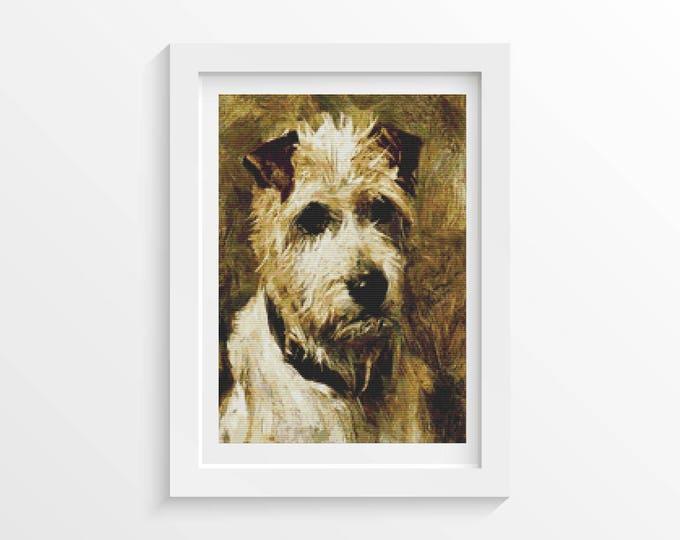 Cross Stitch Pattern PDF, Embroidery Chart, Art Cross Stitch, Dog Cross Stitch, Portrait of a Terrier by John Emms (EMMS01)