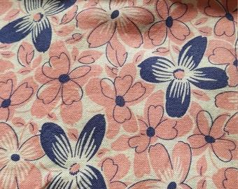 Vintage FULL Unopened Feed Sack Feedsack Fabric Material Pink Blue Flowers  BEAUTIFUL