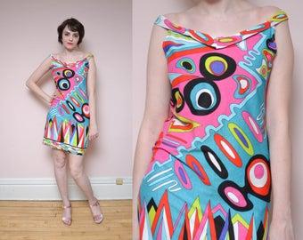 80s does 60s Mod Mini Dress M Off the Shoulder Art Deco Novelty Print Neon Colorblock Futuristic V Neck Party Dress Bodycon Dress