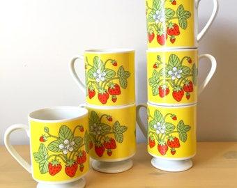 Set of 6 Yellow Strawberry Mugs