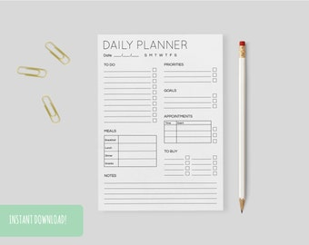 Daily Planner Minimal A4 Interactive and Printable Files Included INSTANT DOWNLOAD