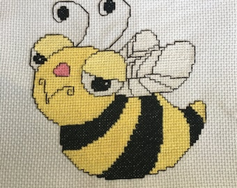 Completed Bumble Bee cross stitch