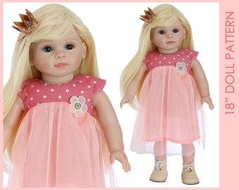 18 inch doll pattern, 18 inch doll dress pattern, 18 inch doll clothes patterns, Doll Dress Pattern, Doll Patterns, DOLL JASMINE