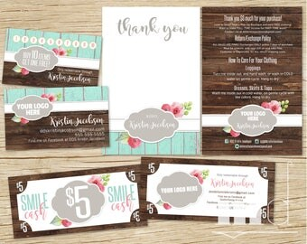 DotDotSmile Marketing Small Business Kit Bundle, Business Card Punch / Loyalty Card, Thank You Care Card, Smile Cash, Rustic Wood PRINTABLE