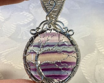 Rainbow Fluorite Tree of Life Pendant Sterling Silver Woven