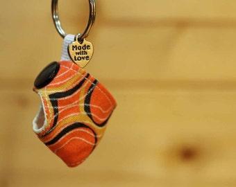 Cloth Diaper Key Chain, Mini Cloth Diaper, Accessories, Key Chain, Orange, item #318