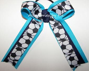 Soccer Ribbon Bow, Blue Soccer Clip, Sparkly Turquoise Navy Blue Soccer Ball Bow, Kids Blue Soccer Ponytail Bows, Soccer Team Wholesale Bulk