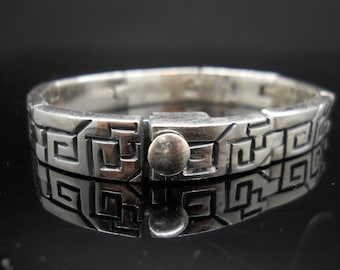 Heavy Sterling Silver Greek Key Bracelet Thick Panel 6.5 Inch 925 Maze Mexico