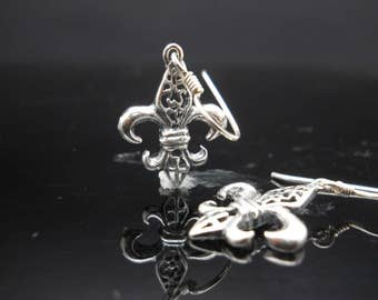 Sterling Silver Fleur De Lis Earrings Filigree Dangle 925 Jewelry