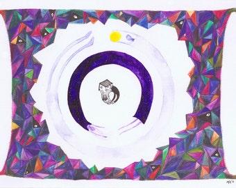HANDDRAWN ART, originele een van een soort tekenen / schilderen van het heelal en het zonnestelsel. Felle kleuren, acryl, aquarellen, Indische inkt