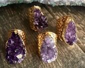 Druzy Ring,Amethyst Ring Gold,Gold Amethyst Ring,February Birthstone,Raw Stone Ring,Druzy Ring Gold,Gold Gemstone Ring,Raw Crystal Ring Gold