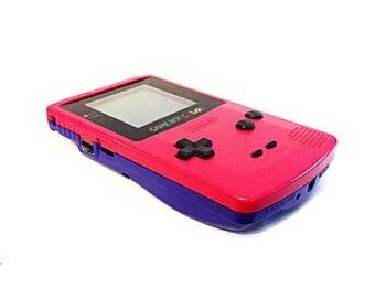 Custom Pink and Purple Nintendo Gameboy Color Handheld Console - GBC