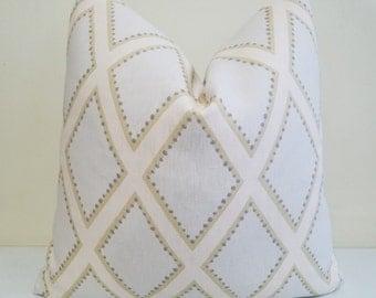 Kravet Brookhaven in Opal-  Blue Diamond  - Pillow Cover -Throw Pillow - Euro Sham _ Lumbar Pillow