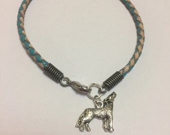 Wolf Braided Leather Charm Bracelet