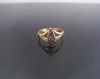 Simple But Sweet VICTORIAN 14k Gold Old Cut Diamond Geometric SHIELD Ring