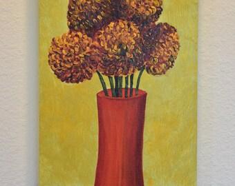 Mums in Vase 10x20 original acrylic on canvas