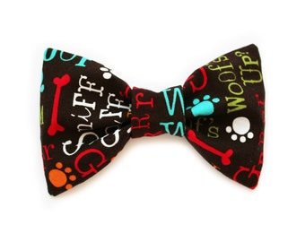 Dog Bow Tie, Brown with Funny Text, Dog Clothes Accessories, Detachable, Cat Bow Tie- Woof's Up