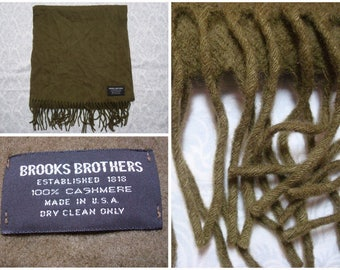 Vintage Retro 80's Brooks Brothers Scarf Cashmere Green Made in USA