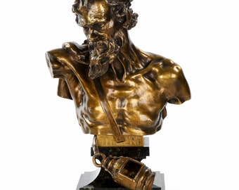 "Bronze Bust Sculpture of ""Diogenes"" after Claudius Marioton cast by E. Colin"