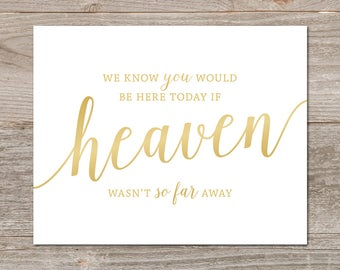 Heaven Wedding Sign Gold // In Loving Memory Wedding Sign // Gold Wedding Remembrance Sign // Printable Memory Sign