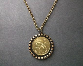 Hong Kong Gold Colored Coin Necklace - Hong Kong Pendant in Pendant Tray