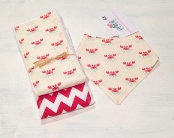 Crabby Pants Baby Feeding Drool Bandana Bib & Burp Cloth Set-Wren Riley Designs-Free Shipping