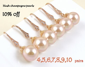 Unique Bridesmaid Gift Idea Rose Gold Jewelry Wedding Jewelry Sets for Bridesmaids Pearl Earrings Bridesmaid Jewelry