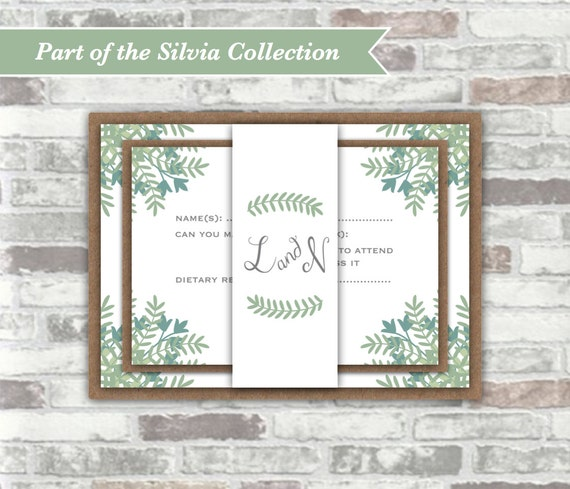 PRINTABLE Digital Files - Silvia Collection - Personalised Wedding Invitation Bundle - Lush Green Woodland Foliage - Rustic Wedding Invites