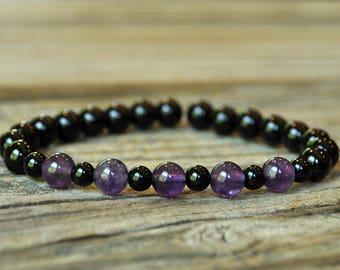 Protection Bracelet, Black Tourmaline Bracelet, Grounding Bracelet, Base Chakra, Crystal Healing Bracelet, Yoga Bracelet, Energy Bracelet