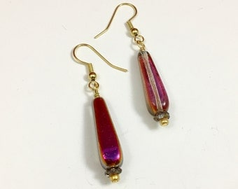 Violet Gold Crystal Teardrop Czech Glass Beaded Dangle Earrings