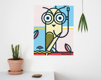 Endless Summer, Pop Art, Summer, Owl, Bird, Colour, illustration, Wall Art, Home Decor, Poster, 40 x 50cm, Geometric