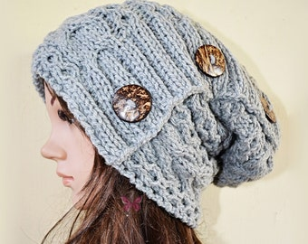 Winter Slouchy cable beanie knit hat with tri-button -Pearl Grey (or choose color) -Oversize- Paypal FREE SHIPPING - handmade - baggy - gift
