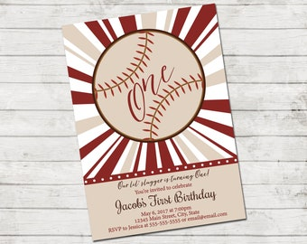 Baseball Birthday Party Invitation - Lil Slugger - Vintage Style - First Birthday - Red and Tan - Printable