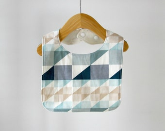 Baby/Toddler Bib, Blue Tan and Gray Geometric Print Cotton with Organic Bamboo Terry