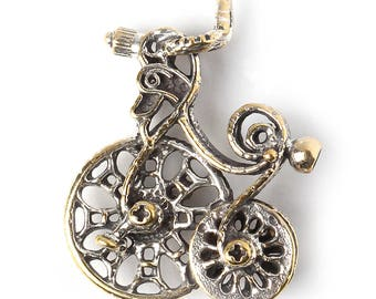 Fantasy silvering jewelry findings bike charm pendant V3404(1). Handmade findings bicycle silvering vintage Designed and made by Anna Bronze