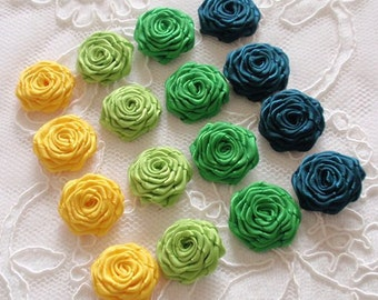 16 Small Handmade Ribbon Roses (7/8 to 1 inches) In Maiza, Apple Green, Emerald, Teal MY- 616-01 Ready To Ship