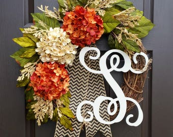 Front Door Wreath,Wreath for Door,Summer Wreath,Grapevine Wreath,Rustic Wreath,Door Wreath,Hydrangea Wreath for Front Door,Housewarming Gift