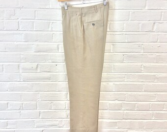 Vintage 1960s Khaki Summer Weight Slacks. Size 30x29