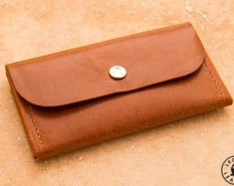 Compact Leather Purse (Mid Brown Llama Hide)